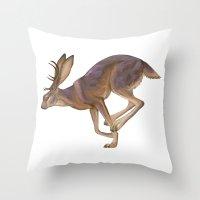 jackalope Throw Pillows featuring Jackalope by Sadé Hickman