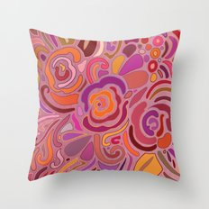 Rose fragments, pink, purple and orange Throw Pillow