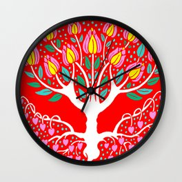 Love Grows Forever - Tomato Red Wall Clock