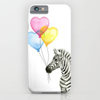 Zebra Watercolor With Heart Shaped Balloons Whimsical Baby Animals iPhone 6s Slim Case