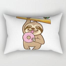 Sloth loves donut Rectangular Pillow