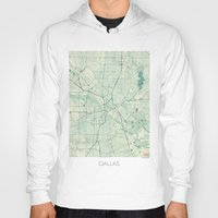 dallas Hoodies featuring Dallas Map Blue Vintage by City Art Posters