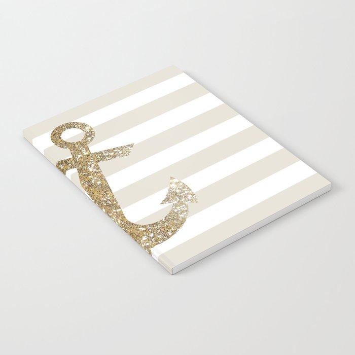 GLITTER ANCHOR IN GOLD Notebook