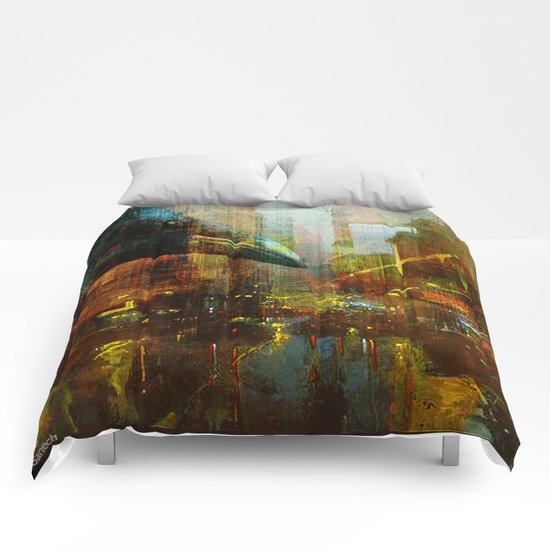 Crow in the geometrical city Comforters