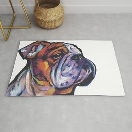 Fun English Bulldog Dog Portrait bright colorful Pop Art Painting by LEA Rug