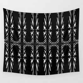 Geometric Black and White Tribal-Inspired Pattern Wall Tapestry