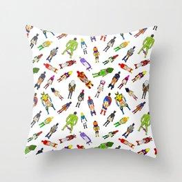 Superhero Butts with Villians - Light Pattern Throw Pillow