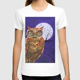 Owl, Owl Painting, Moon, Night Sky, Purple, by Faye T-shirt