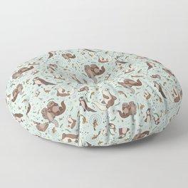 Cute Sea Otters Floor Pillow