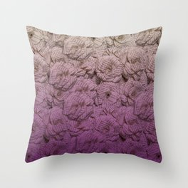 Purple Ombre Book Page Flower Roses Throw Pillow