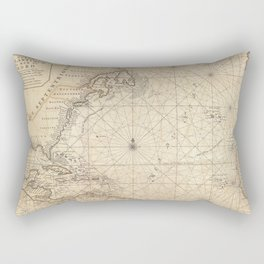 1683 Map of North America, West Indies, and Atlantic Ocean Rectangular Pillow