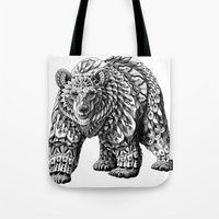 bioworkz Tote Bags featuring Ornate Bear by BIOWORKZ