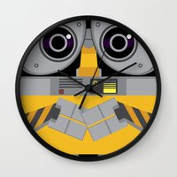 wall e Wall Clocks featuring Wall-E by Sam Del Valle