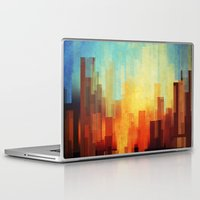 cityscape Laptop & iPad Skins featuring Urban sunset by SensualPatterns
