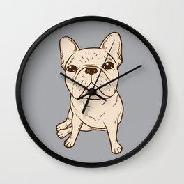 Cream French Bulldog Wall Clock