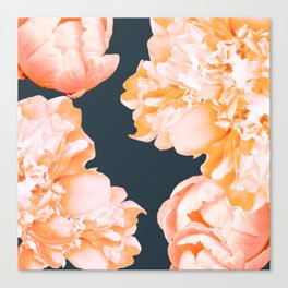 Peach Colored Flowers Dark Background #decor #society6 #buyart Canvas Print