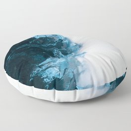 Abstract Aerial Lake in Iceland – Minimalist Landscape Photography Floor Pillow