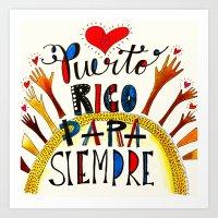 Puerto Rico Para Siempre Art Print