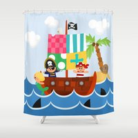 pirate ship Shower Curtains featuring PIRATE SHIP (AQUATIC VEHICLES) by Alapapaju