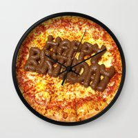 poop Wall Clocks featuring Pizza Poop by Carsick T-Rex