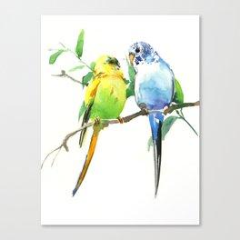 Budgies, Animal art, love, two birds bird artwork, bird pet Canvas Print
