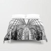brooklyn bridge Duvet Covers featuring Brooklyn Bridge by magnez2