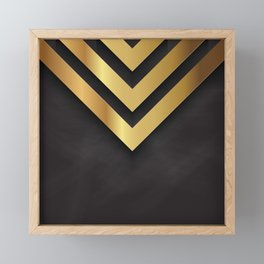 Back and gold geometric design Framed Mini Art Print