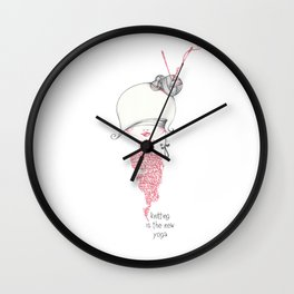 knitting is the new yoga! Wall Clock