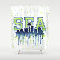 seahawks Shower Curtains featuring Seattle 12th Man Art Watercolor Space Needle Painting  by Olechka