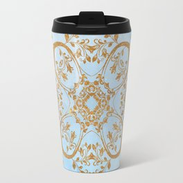 GOLD AND BLUE FLOURISH ORNAMENT MANDALA Travel Mug