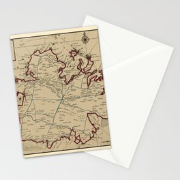 Map Of Antigua 1732 Stationery Cards