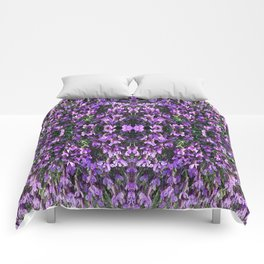 SPANISH LAVENDER AND ONE BEE Comforters