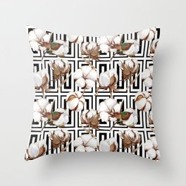 Cotton Flower Pattern 08 Throw Pillow
