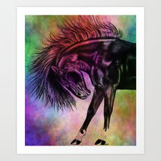 Colourful Sketched Horse Art Print