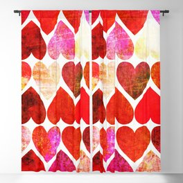 Mod Red Grungy Hearts Design Blackout Curtain