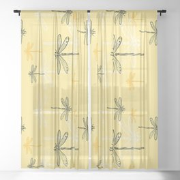 Dragonfly minimal Soft light Yellow & Ultimate Gray_drawing Sheer Curtain