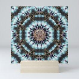 Om Shanti Fractal Geometry [ earthy aqua remix ] Mini Art Print