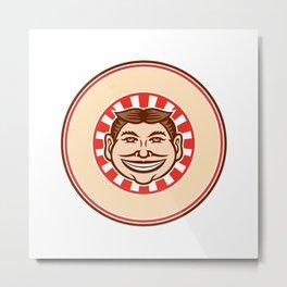 Grinning Funny Face Mascot Circle Retro Metal Print