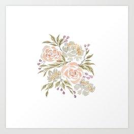 'Carolina' Floral Watercolor Artwork -- BiotaDrawings Art Print