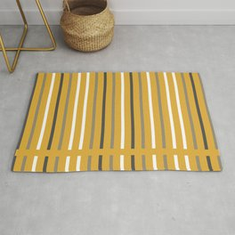 Divided Lines in Navy Blue, Gray, and White on Mustard Yellow Rug