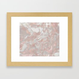 French polished rose gold marble Framed Art Print