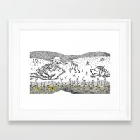 pushing daisies Framed Art Prints featuring Pushing Up Daisies by Maria Laureno