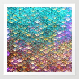 Aqua and Gold Mermaid Scales Art Print
