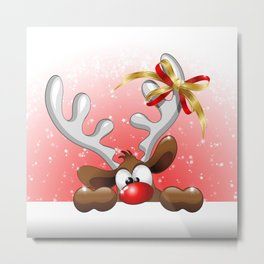 Funny Christmas Reindeer Cartoon Metal Print