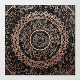 Mandala - rose gold and black marble Canvas Print