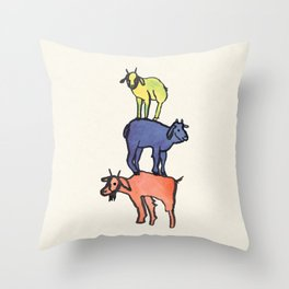 3 Billy Goats Up Throw Pillow