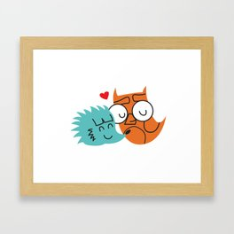 Owl and hedgehog Framed Art Print