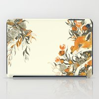 fox iPad Cases featuring fox in foliage by Teagan White