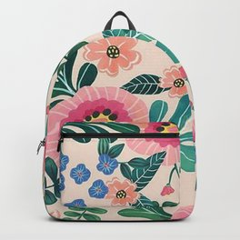 Colorful Tropical Vintage Flowers Abstract Backpack