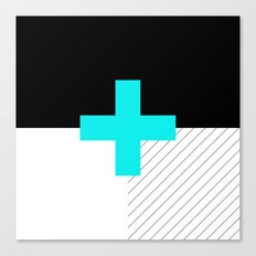 Neon Cross (Blue) // Neon Plus (Blue) Canvas Print
